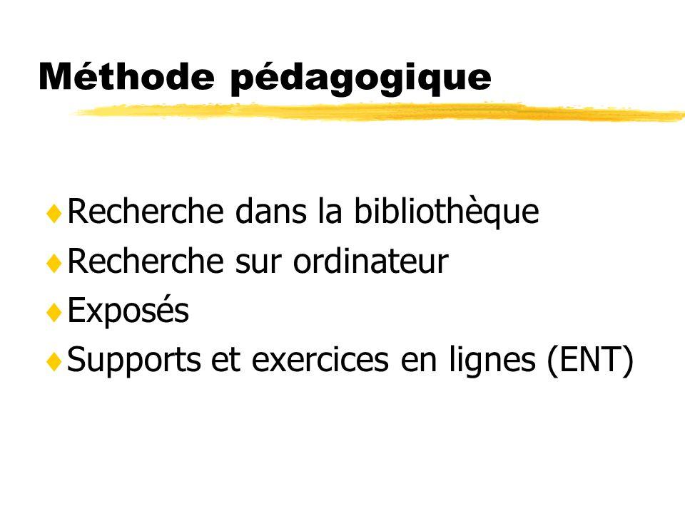 Méthode pédagogique Recherche dans la bibliothèque Recherche sur ordinateur Exposés Supports et exercices en lignes (ENT)