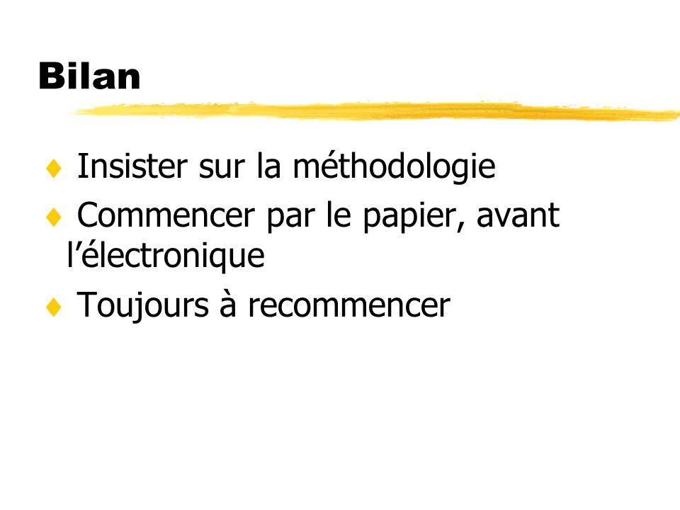 Bilan Insister sur la méthodologie Commencer par le papier, avant lélectronique Toujours à recommencer