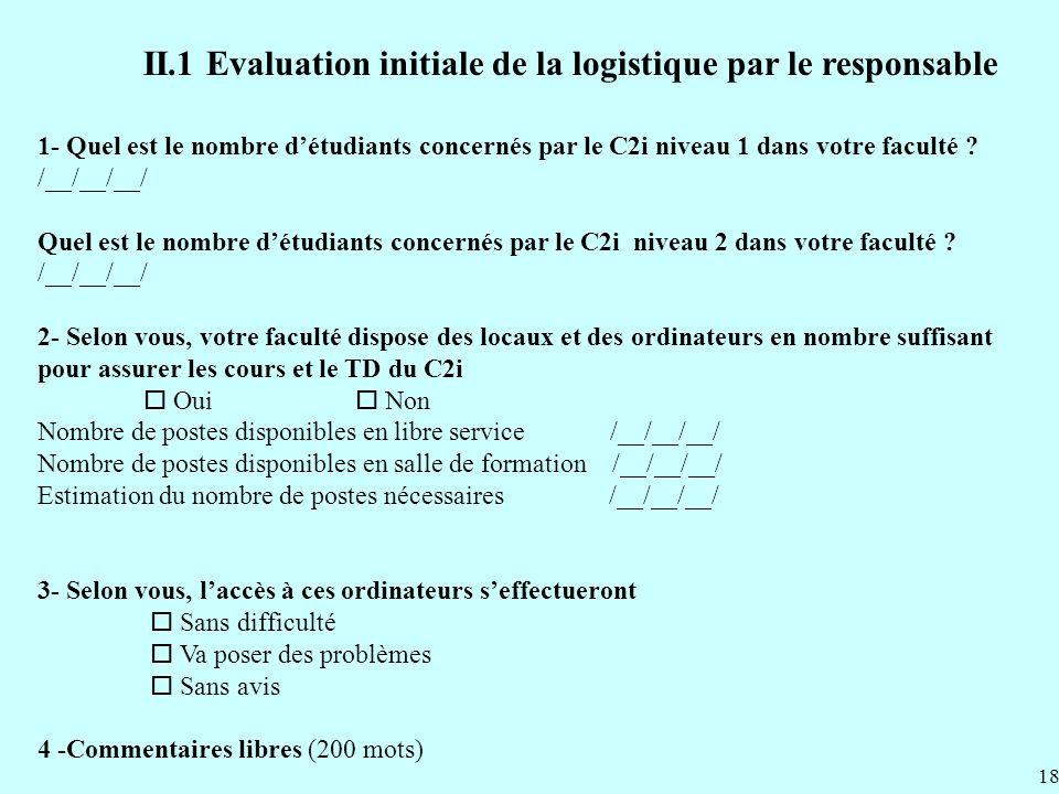 II.1 Evaluation initiale de la logistique par le responsable 1- Quel est le nombre détudiants concernés par le C2i niveau 1 dans votre faculté .