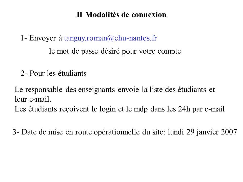 II Modalités de connexion 1- Envoyer à tanguy.roman@chu-nantes.fr le mot de passe désiré pour votre compte 2- Pour les étudiants Le responsable des enseignants envoie la liste des étudiants et leur e-mail.