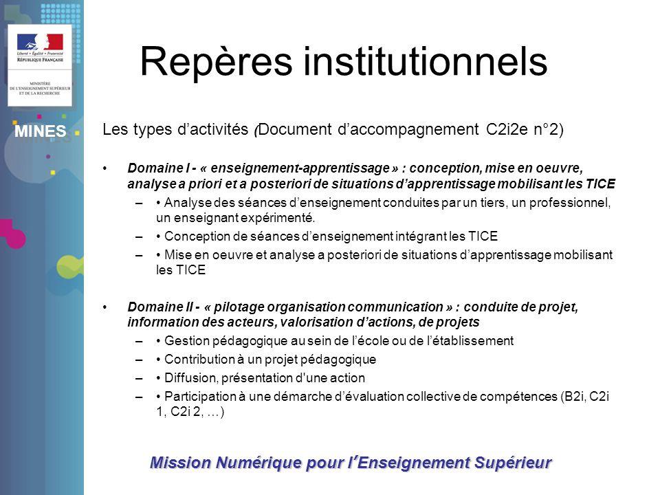 MINES Mission Numérique pour lEnseignement Supérieur Repères institutionnels Les types dactivités ( Document daccompagnement C2i2e n°2) Domaine I - «