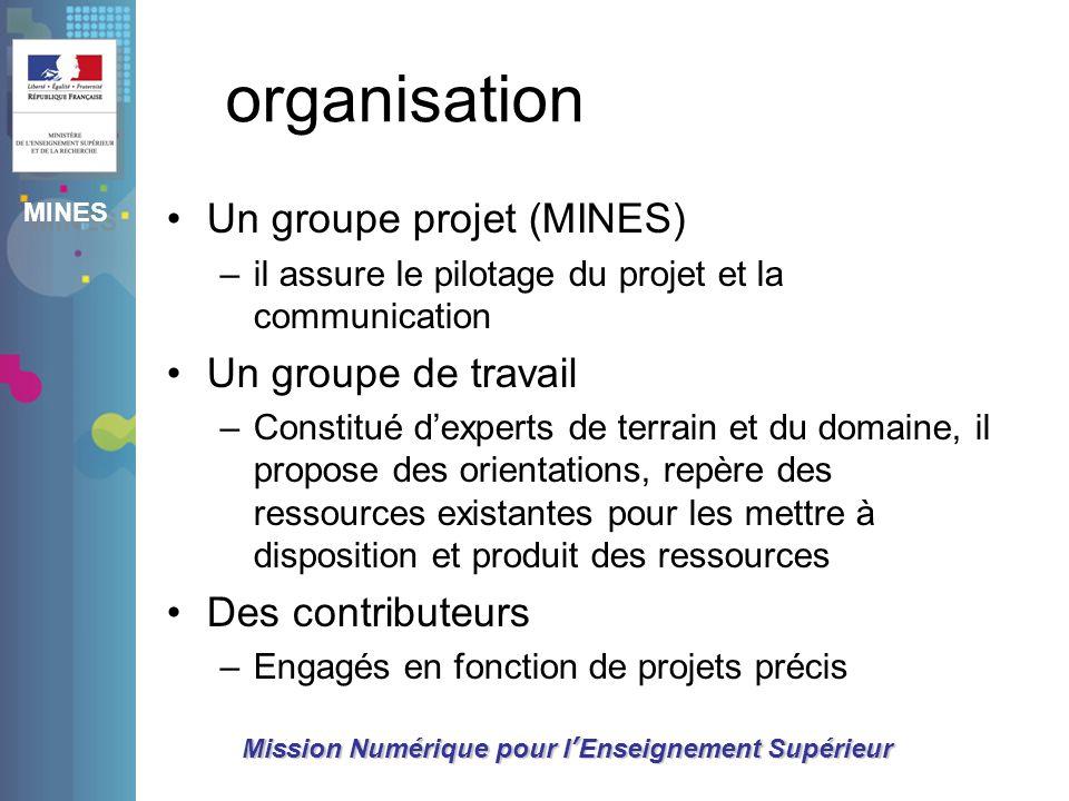 MINES Mission Numérique pour lEnseignement Supérieur organisation Un groupe projet (MINES) –il assure le pilotage du projet et la communication Un gro