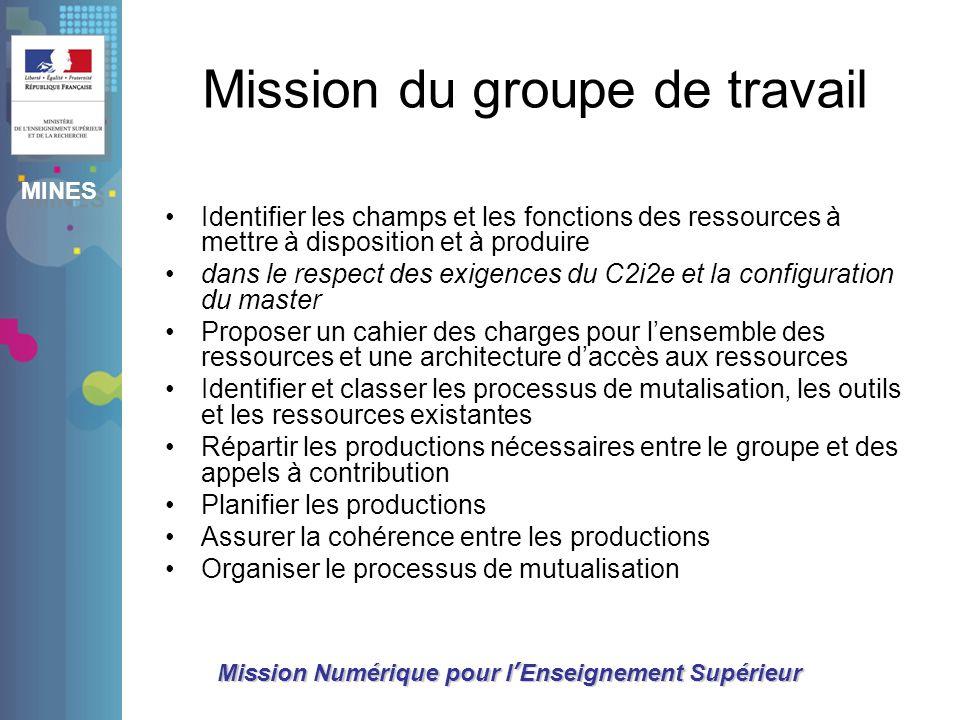 MINES Mission Numérique pour lEnseignement Supérieur Mission du groupe de travail Identifier les champs et les fonctions des ressources à mettre à dis