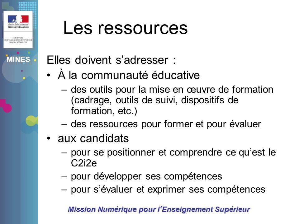 MINES Mission Numérique pour lEnseignement Supérieur Les ressources Elles doivent sadresser : À la communauté éducative –des outils pour la mise en œu