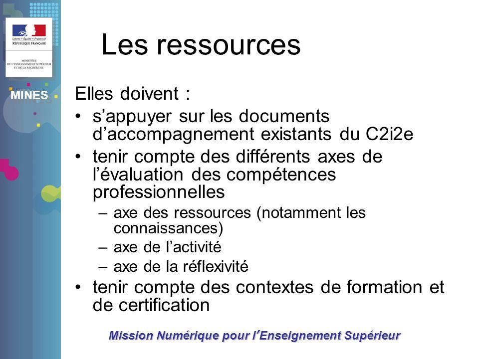 MINES Mission Numérique pour lEnseignement Supérieur Les ressources Elles doivent : sappuyer sur les documents daccompagnement existants du C2i2e teni