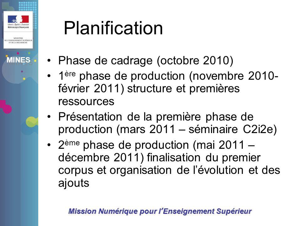MINES Mission Numérique pour lEnseignement Supérieur Planification Phase de cadrage (octobre 2010) 1 ère phase de production (novembre 2010- février 2