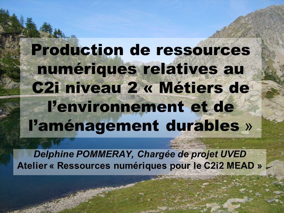 Production de ressources numériques relatives au C2i niveau 2 « Métiers de lenvironnement et de laménagement durables » Delphine POMMERAY, Chargée de