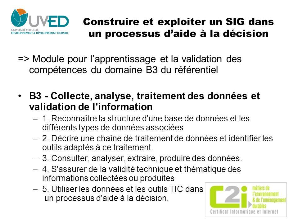 Construire et exploiter un SIG dans un processus daide à la décision => Module pour lapprentissage et la validation des compétences du domaine B3 du r