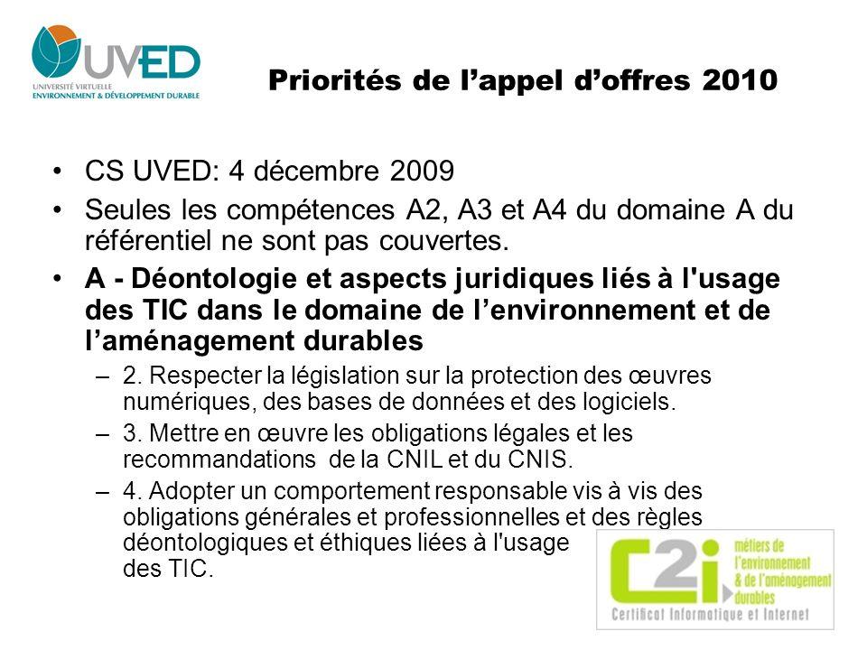 Priorités de lappel doffres 2010 CS UVED: 4 décembre 2009 Seules les compétences A2, A3 et A4 du domaine A du référentiel ne sont pas couvertes. A - D