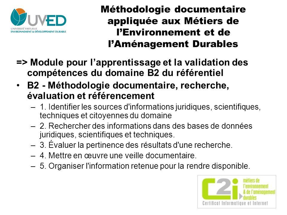 Méthodologie documentaire appliquée aux Métiers de lEnvironnement et de lAménagement Durables => Module pour lapprentissage et la validation des compé
