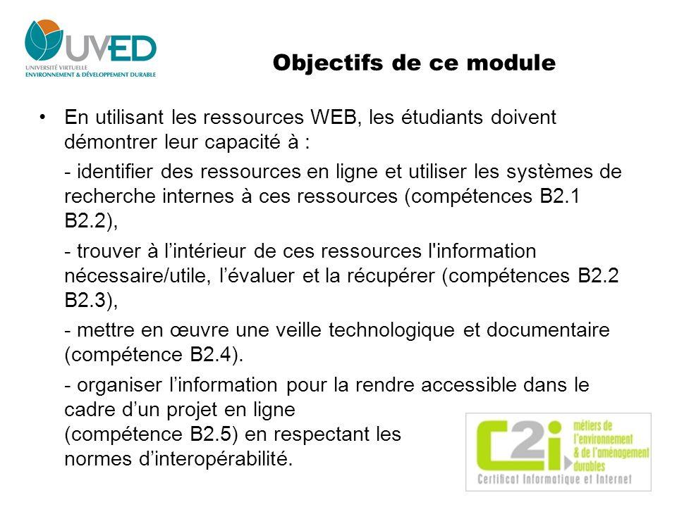 Objectifs de ce module En utilisant les ressources WEB, les étudiants doivent démontrer leur capacité à : - identifier des ressources en ligne et util