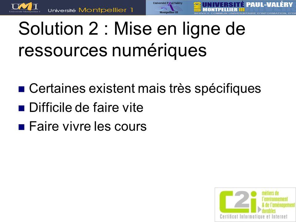 Solution 2 : Mise en ligne de ressources numériques Certaines existent mais très spécifiques Difficile de faire vite Faire vivre les cours