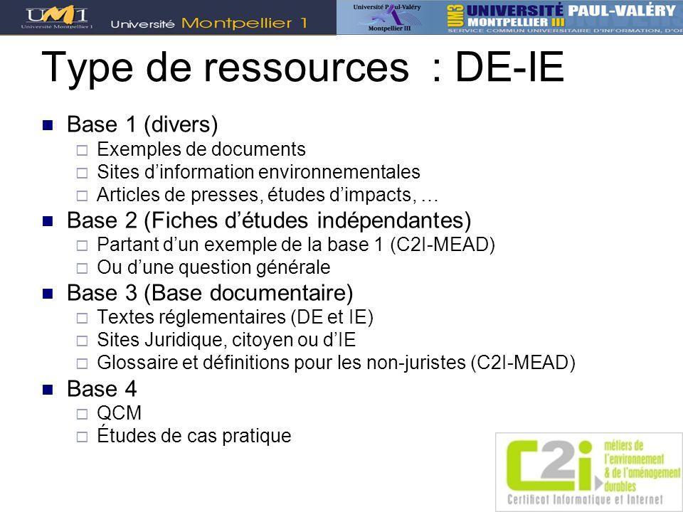 Type de ressources : DE-IE Base 1 (divers) Exemples de documents Sites dinformation environnementales Articles de presses, études dimpacts, … Base 2 (