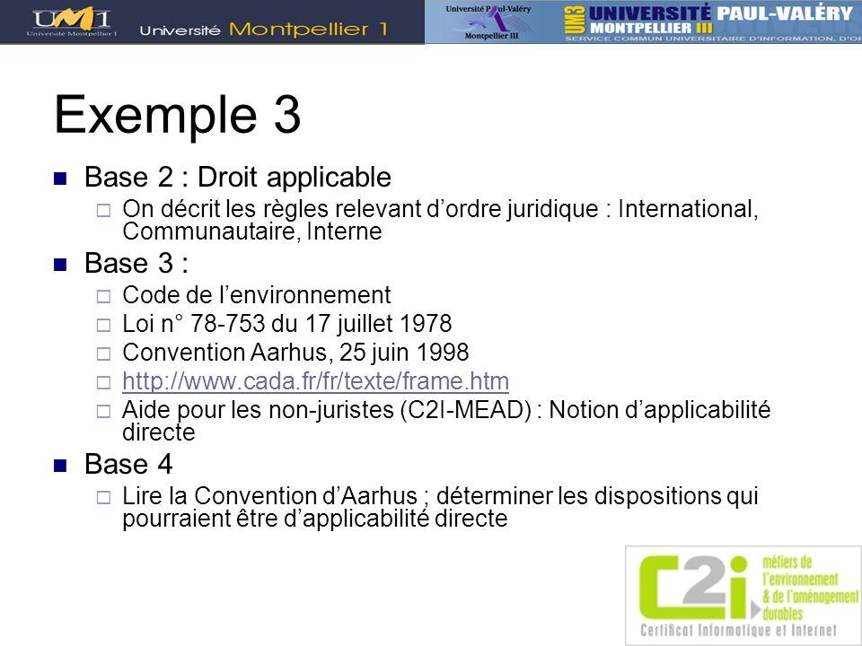 Exemple 3 Base 2 : Droit applicable On décrit les règles relevant dordre juridique : International, Communautaire, Interne Base 3 : Code de lenvironne