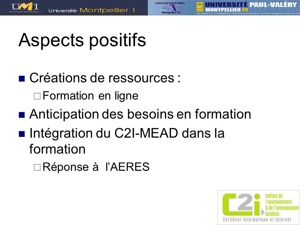 Aspects positifs Créations de ressources : Formation en ligne Anticipation des besoins en formation Intégration du C2I-MEAD dans la formation Réponse