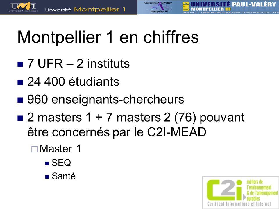 Montpellier 1 en chiffres 7 UFR – 2 instituts 24 400 étudiants 960 enseignants-chercheurs 2 masters 1 + 7 masters 2 (76) pouvant être concernés par le