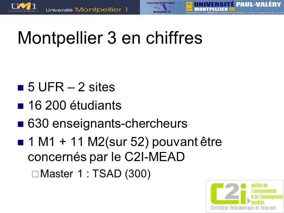 Montpellier 3 en chiffres 5 UFR – 2 sites 16 200 étudiants 630 enseignants-chercheurs 1 M1 + 11 M2(sur 52) pouvant être concernés par le C2I-MEAD Mast