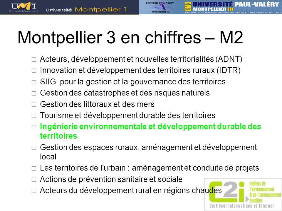 Montpellier 3 en chiffres – M2 Acteurs, développement et nouvelles territorialités (ADNT) Innovation et développement des territoires ruraux (IDTR) SI