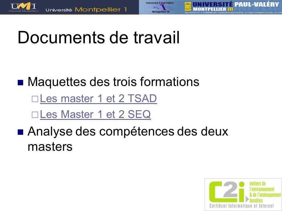 Documents de travail Maquettes des trois formations Les master 1 et 2 TSAD Les Master 1 et 2 SEQ Analyse des compétences des deux masters