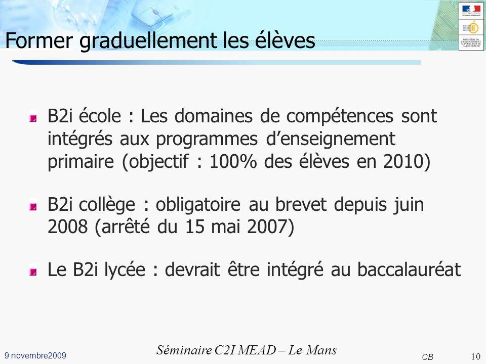 10 CB 9 novembre2009 Séminaire C2I MEAD – Le Mans Former graduellement les élèves B2i école : Les domaines de compétences sont intégrés aux programmes