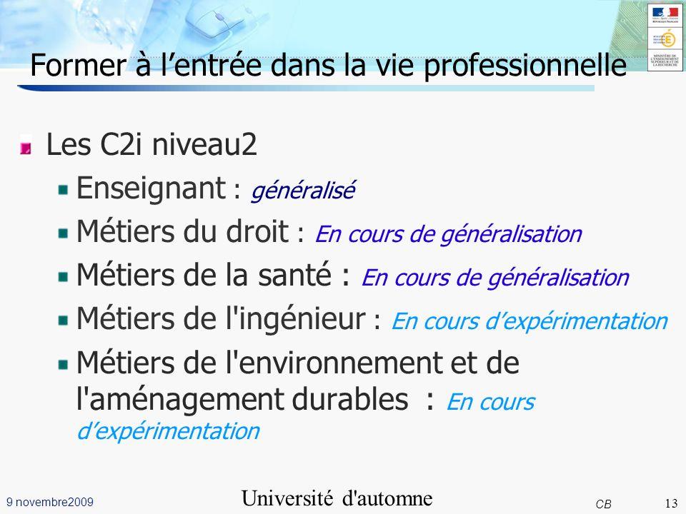 13 CB 9 novembre2009 Université d'automne Grenoble Former à lentrée dans la vie professionnelle 13 Les Les C2i niveau2 Enseignant : généralisé Métiers