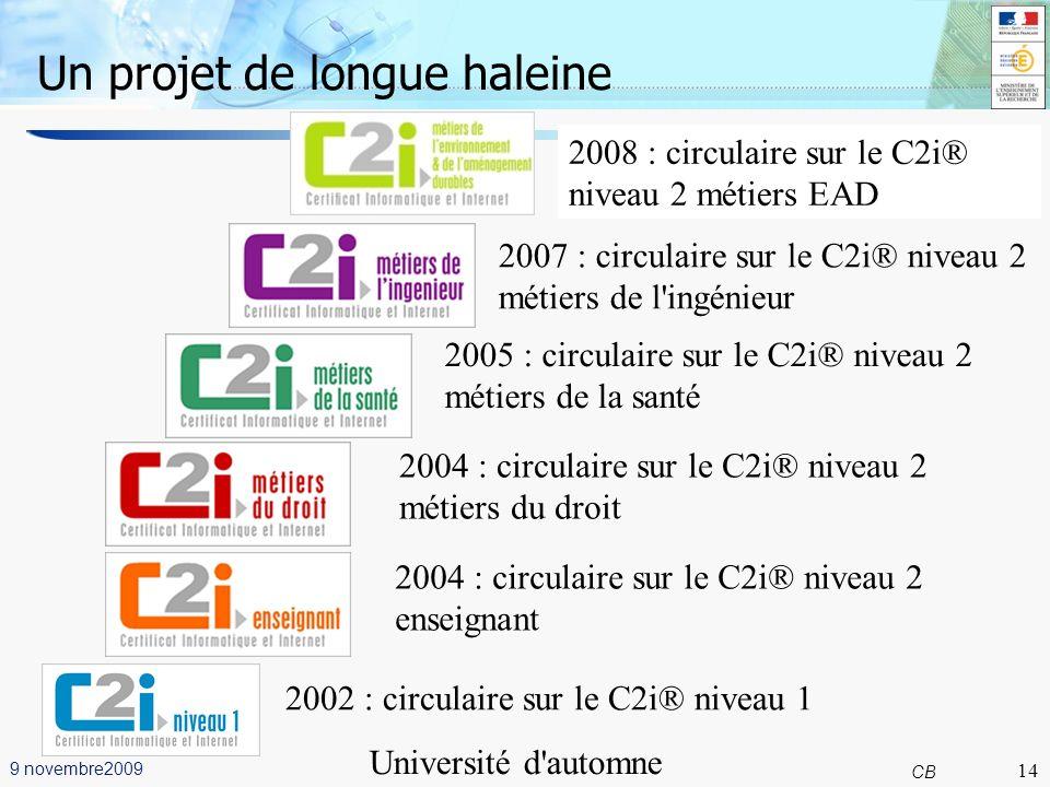 14 CB 9 novembre2009 Université d automne Grenoble Un projet de longue haleine 14 2002 : circulaire sur le C2i® niveau 1 2004 : circulaire sur le C2i® niveau 2 enseignant 2004 : circulaire sur le C2i® niveau 2 métiers du droit 2005 : circulaire sur le C2i® niveau 2 métiers de la santé 2007 : circulaire sur le C2i® niveau 2 métiers de l ingénieur 2008 : circulaire sur le C2i® niveau 2 métiers EAD