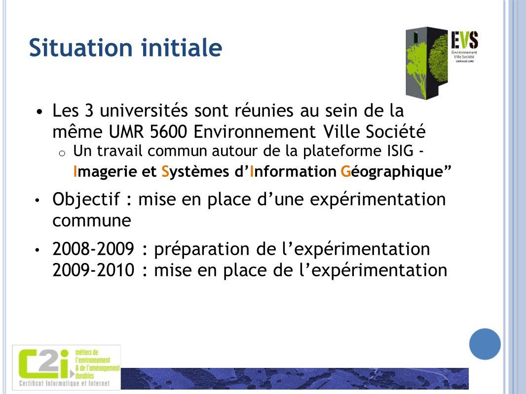 Situation initiale Les 3 universités sont réunies au sein de la même UMR 5600 Environnement Ville Société o Un travail commun autour de la plateforme