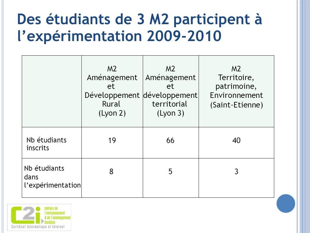 Des étudiants de 3 M2 participent à lexpérimentation 2009-2010