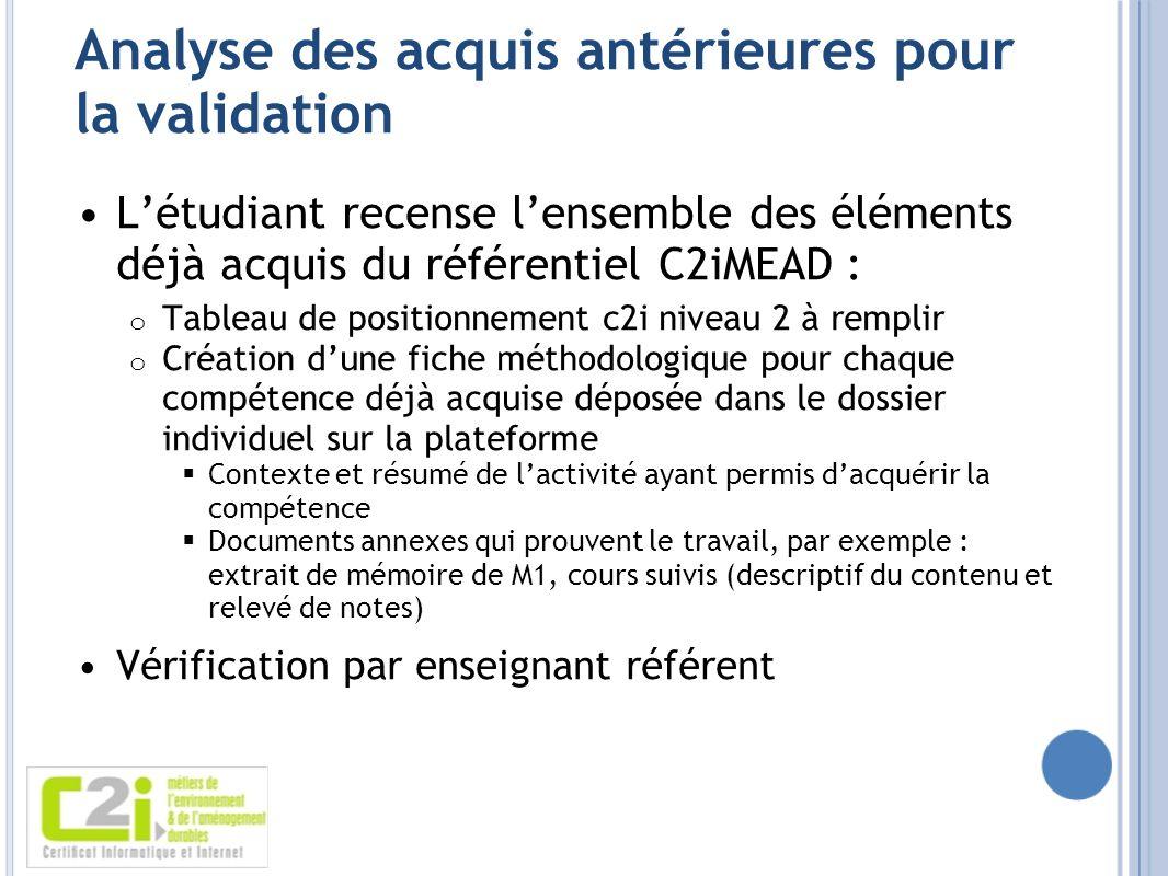 Analyse des acquis antérieures pour la validation Létudiant recense lensemble des éléments déjà acquis du référentiel C2iMEAD : o Tableau de positionn