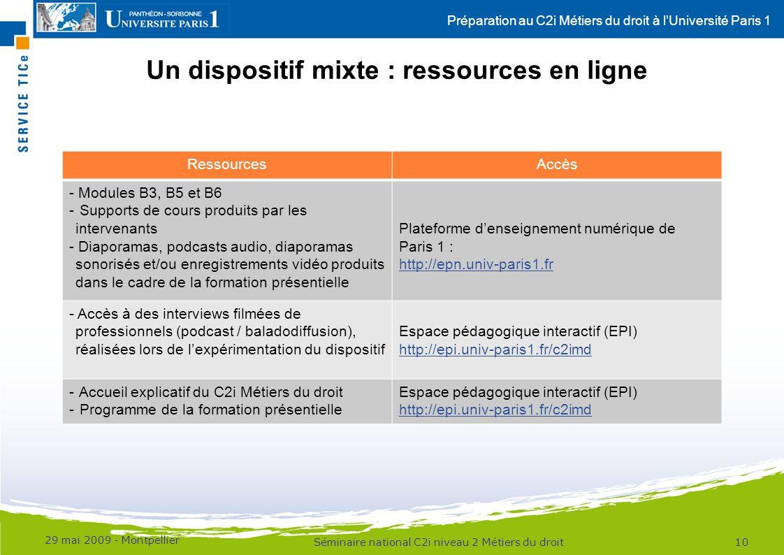 Préparation au C2i Métiers du droit à lUniversité Paris 1 Un dispositif mixte : ressources en ligne 29 mai 2009 - Montpellier 10Séminaire national C2i