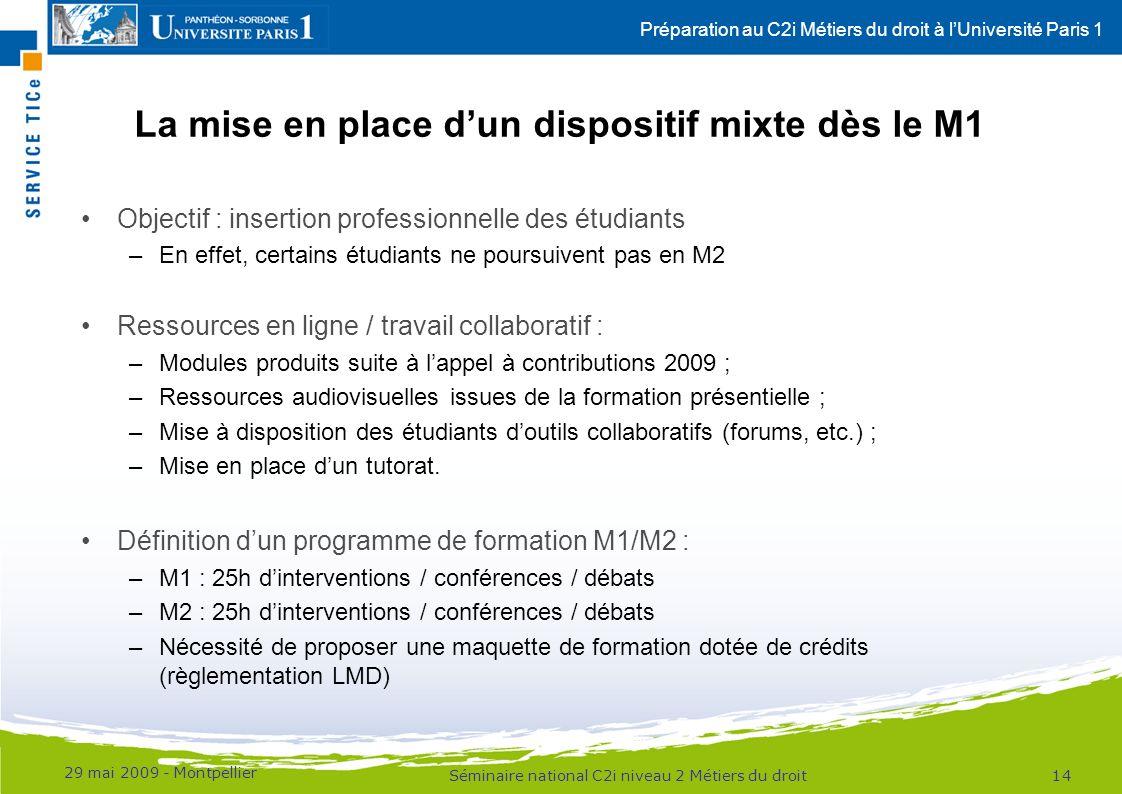 Préparation au C2i Métiers du droit à lUniversité Paris 1 La mise en place dun dispositif mixte dès le M1 Objectif : insertion professionnelle des étu
