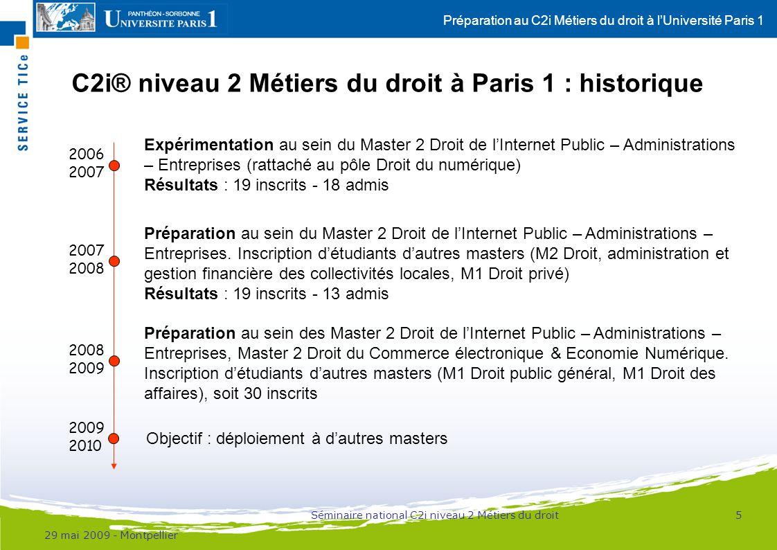 Préparation au C2i Métiers du droit à lUniversité Paris 1 C2i® niveau 2 Métiers du droit à Paris 1 : historique 29 mai 2009 - Montpellier 5 2006 2007