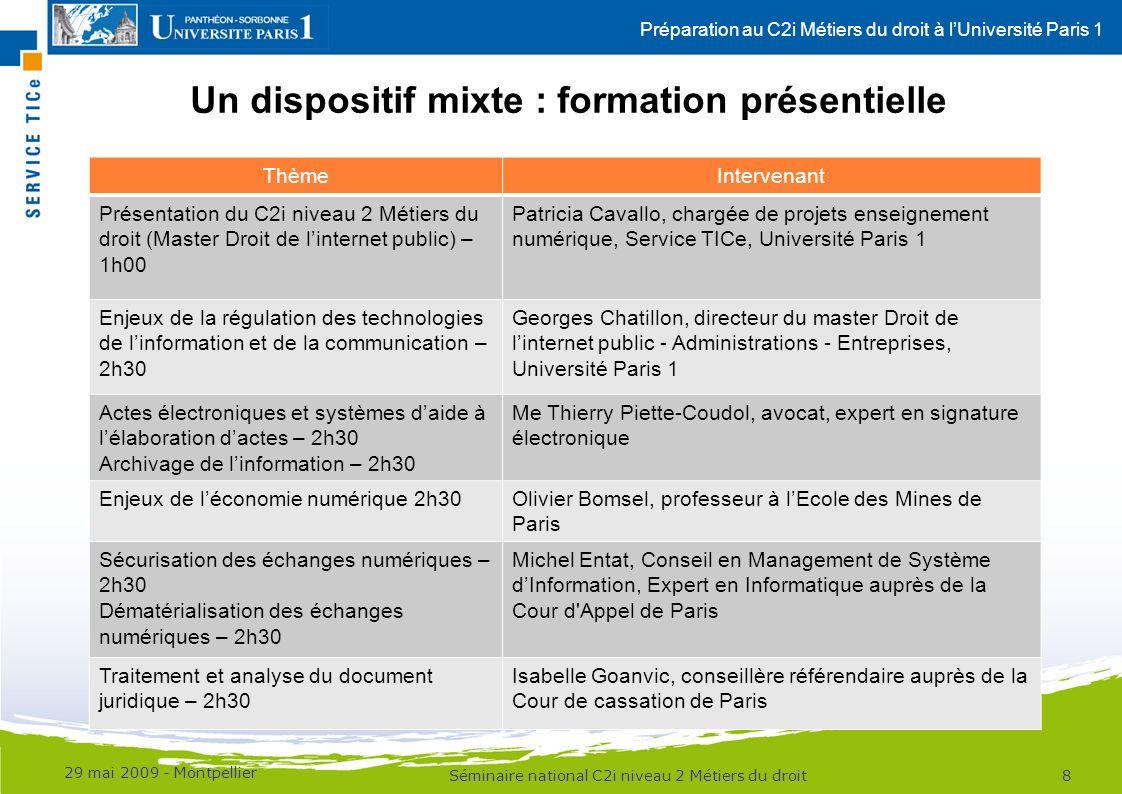 Préparation au C2i Métiers du droit à lUniversité Paris 1 Un dispositif mixte : formation présentielle 29 mai 2009 - Montpellier 8Séminaire national C