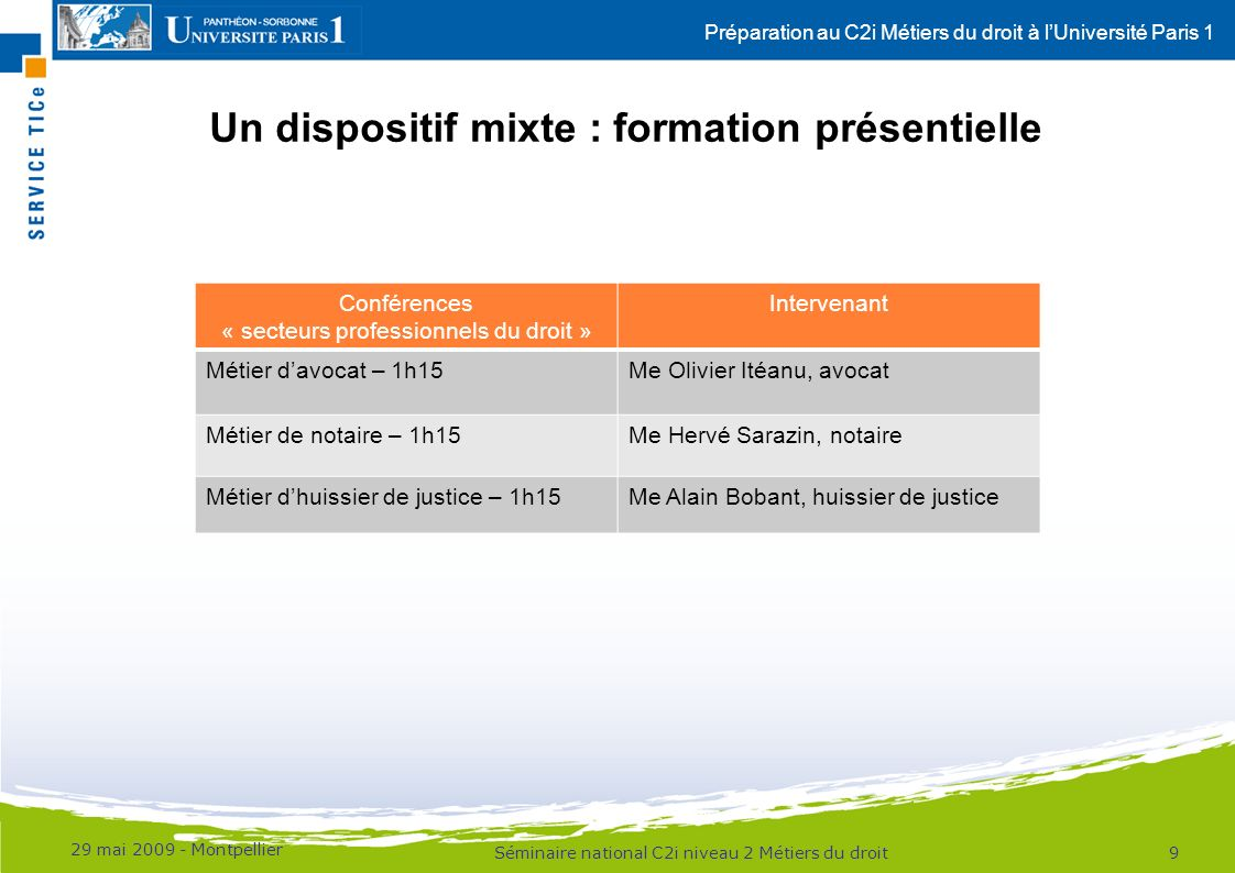 Préparation au C2i Métiers du droit à lUniversité Paris 1 Un dispositif mixte : ressources en ligne 29 mai 2009 - Montpellier 10Séminaire national C2i niveau 2 Métiers du droit RessourcesAccès - Modules B3, B5 et B6 - Supports de cours produits par les intervenants - Diaporamas, podcasts audio, diaporamas sonorisés et/ou enregistrements vidéo produits dans le cadre de la formation présentielle Plateforme denseignement numérique de Paris 1 : http://epn.univ-paris1.fr - Accès à des interviews filmées de professionnels (podcast / baladodiffusion), réalisées lors de lexpérimentation du dispositif Espace pédagogique interactif (EPI) http://epi.univ-paris1.fr/c2imd - Accueil explicatif du C2i Métiers du droit - Programme de la formation présentielle Espace pédagogique interactif (EPI) http://epi.univ-paris1.fr/c2imd