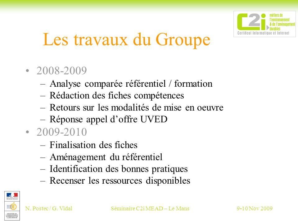 N. Postec / G. VidalSéminaire C2i MEAD – Le Mans9-10 Nov 2009 Les travaux du Groupe 2008-2009 –Analyse comparée référentiel / formation –Rédaction des