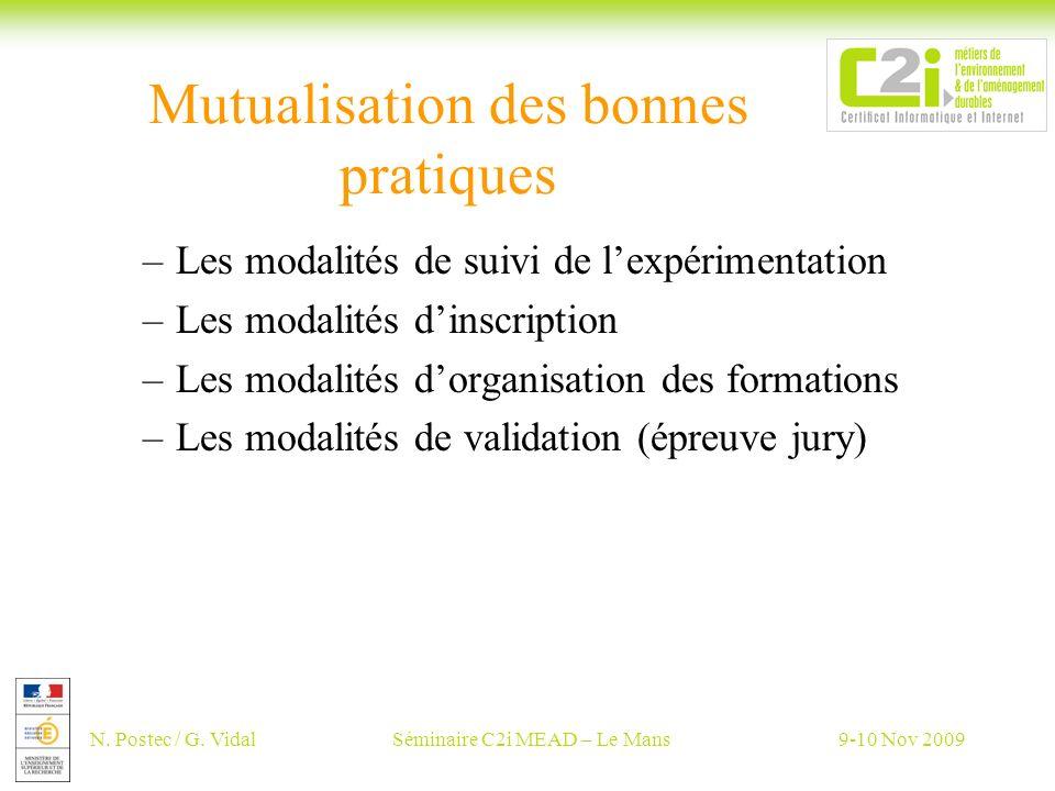 N. Postec / G. VidalSéminaire C2i MEAD – Le Mans9-10 Nov 2009 Mutualisation des bonnes pratiques –Les modalités de suivi de lexpérimentation –Les moda