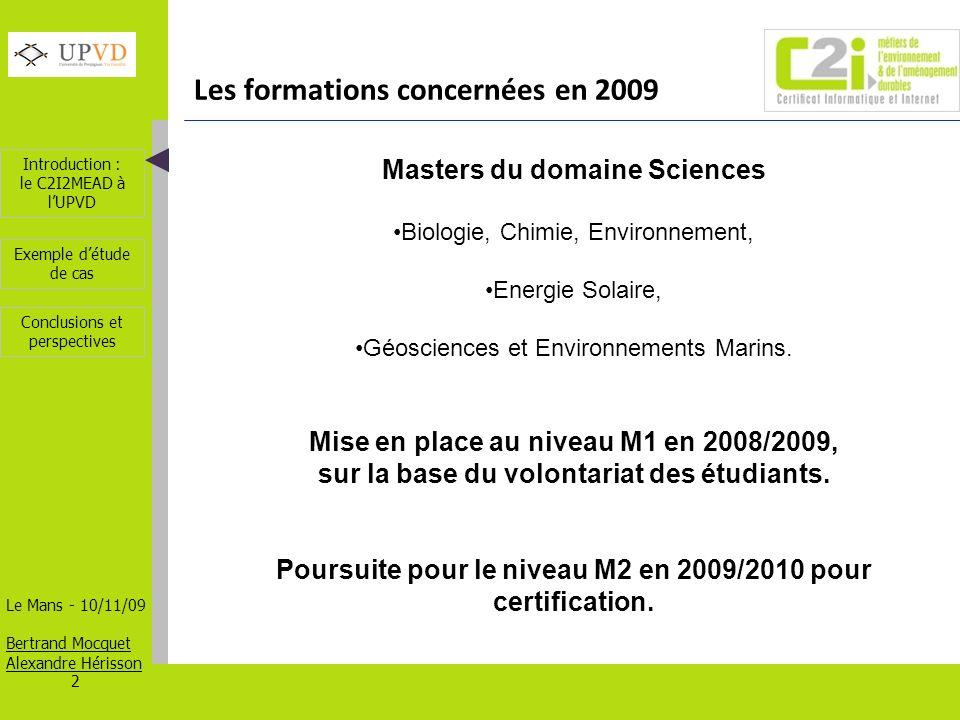 Introduction : le C2I2MEAD à lUPVD Le Mans - 10/11/09 Bertrand Mocquet Alexandre Hérisson 13 Exemple détude de cas Conclusions et perspectives 2 - Recherche et indexation dinformations Indexation et classement des sources documentaires dans Zotero