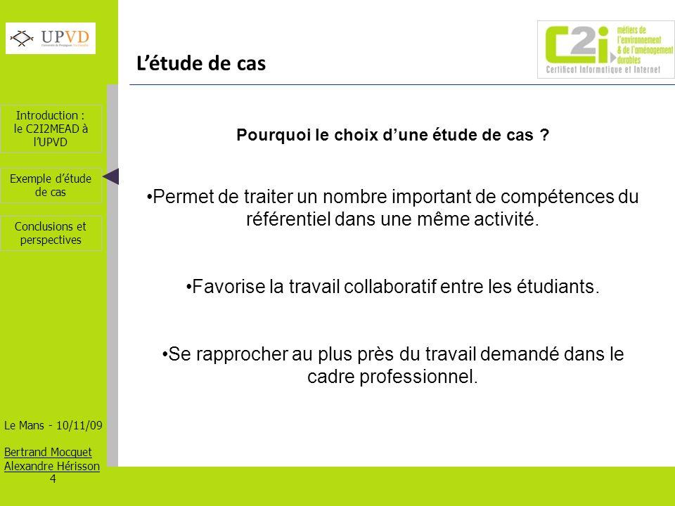 Introduction : le C2I2MEAD à lUPVD Le Mans - 10/11/09 Bertrand Mocquet Alexandre Hérisson 5 Exemple détude de cas Conclusions et perspectives Exemple détude de cas – Master ES Objectif Concevoir par les étudiants des supports de communication à destination de publics cibles.