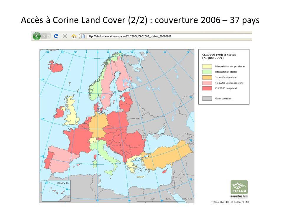Accès à Corine Land Cover (2/2) : couverture 2006 – 37 pays