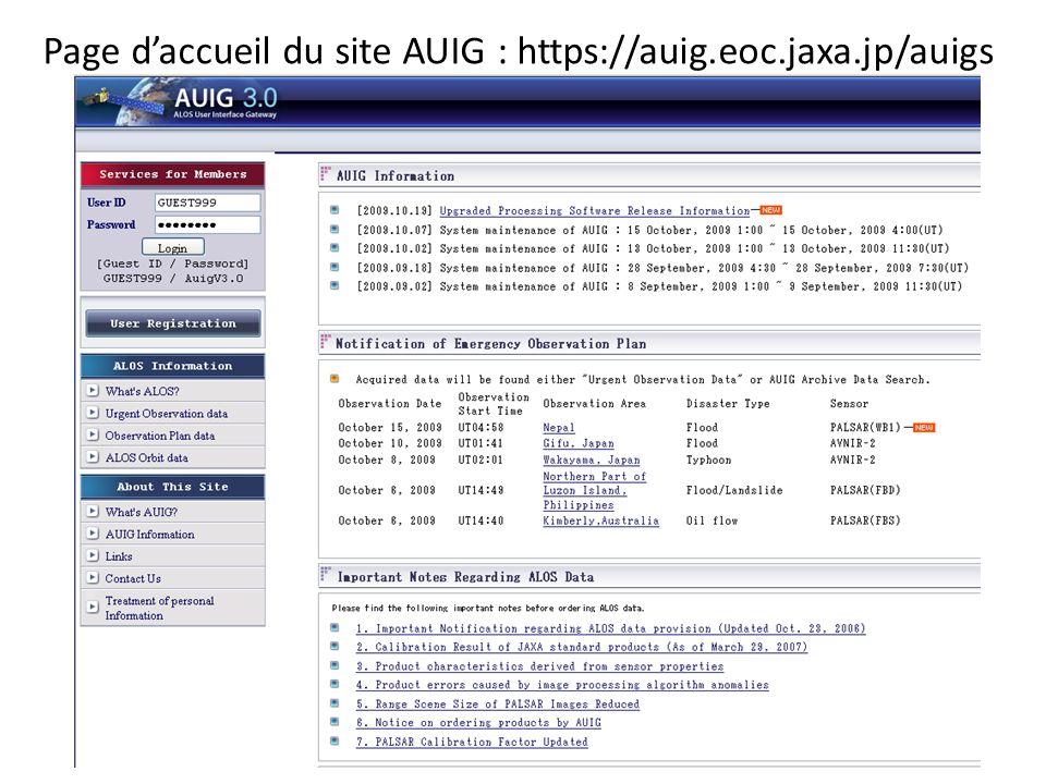 Page daccueil du site AUIG : https://auig.eoc.jaxa.jp/auigs