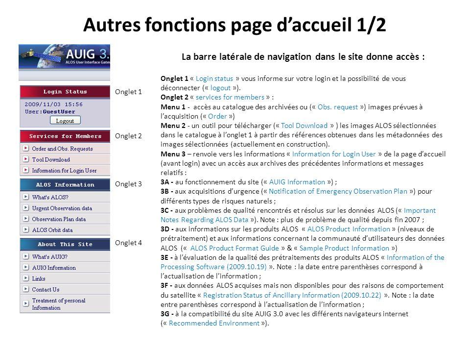 Autres fonctions page daccueil 1/2 La barre latérale de navigation dans le site donne accès : Onglet 1 « Login status » vous informe sur votre login et la possibilité de vous déconnecter (« logout »).