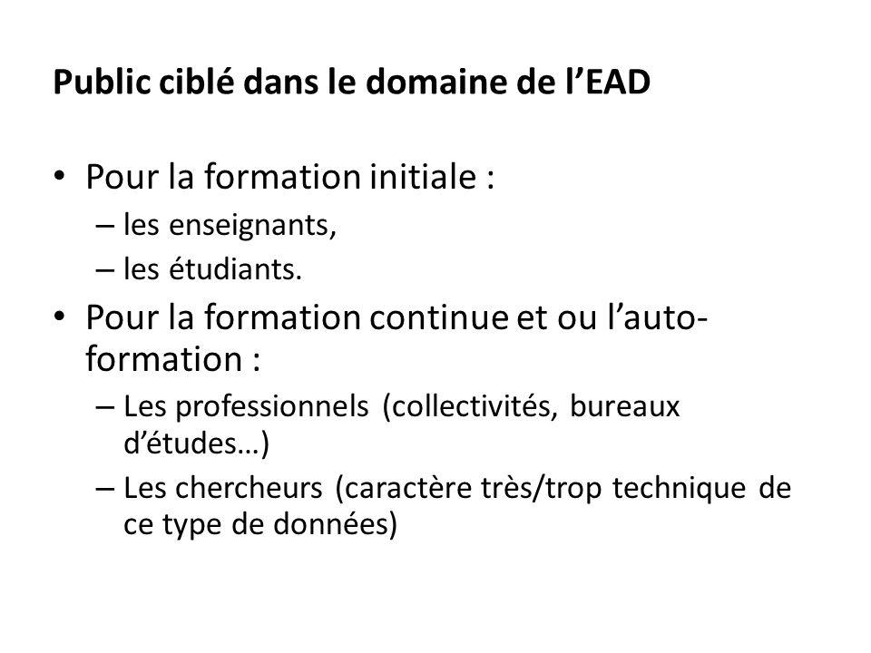 Public ciblé dans le domaine de lEAD Pour la formation initiale : – les enseignants, – les étudiants.