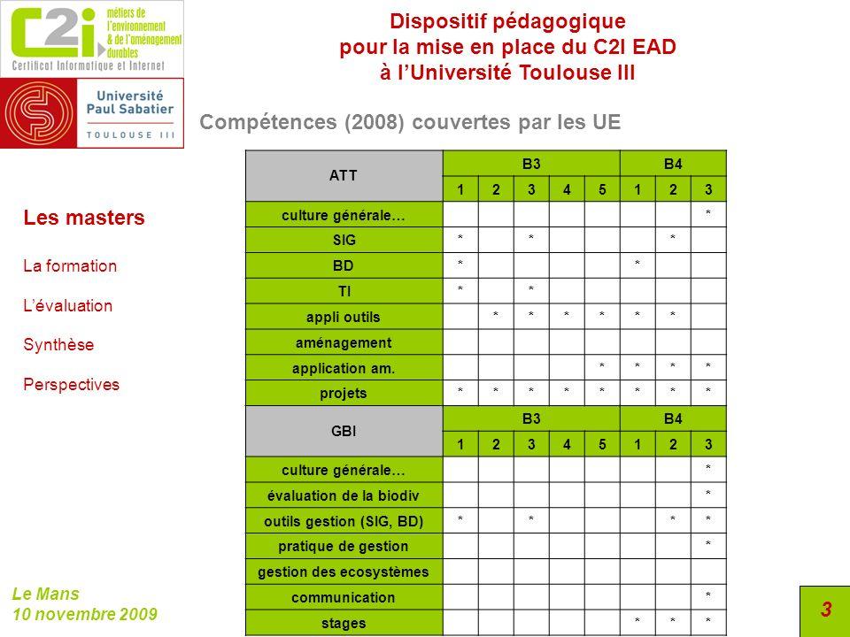 Dispositif pédagogique pour la mise en place du C2I EAD à lUniversité Toulouse III Le Mans 10 novembre 2009 3 Compétences (2008) couvertes par les UE