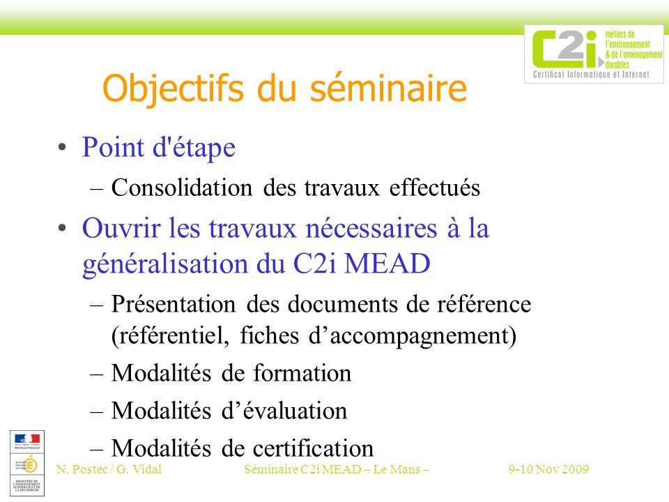 N. Postec / G. VidalSéminaire C2i MEAD – Le Mans –9-10 Nov 2009 Objectifs du séminaire Point d'étape –Consolidation des travaux effectués Ouvrir les t