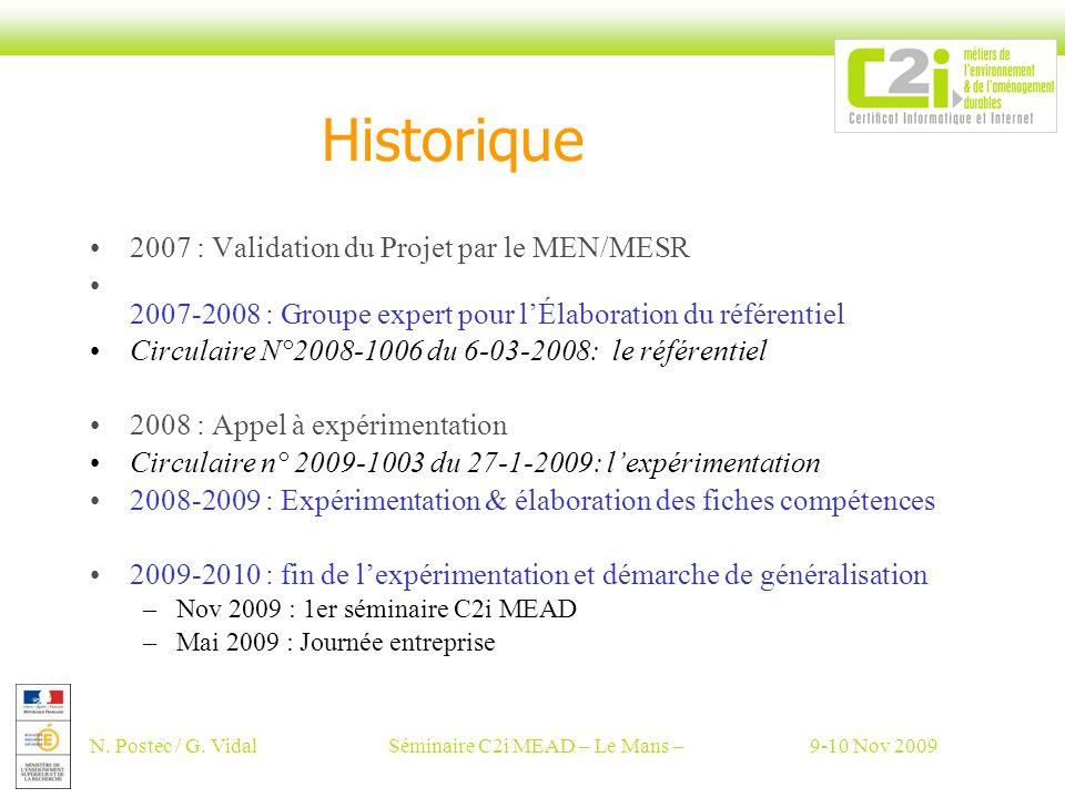 N. Postec / G. VidalSéminaire C2i MEAD – Le Mans –9-10 Nov 2009 Historique 2007 : Validation du Projet par le MEN/MESR 2007-2008 : Groupe expert pour