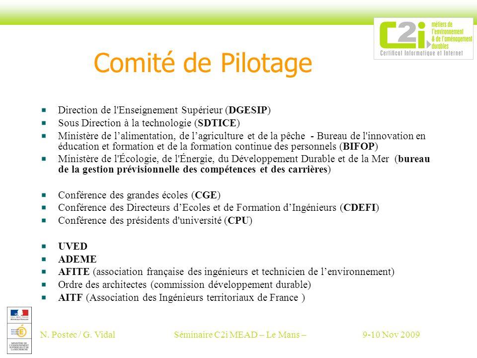N. Postec / G. VidalSéminaire C2i MEAD – Le Mans –9-10 Nov 2009 Comité de Pilotage Direction de l'Enseignement Supérieur (DGESIP) Sous Direction à la