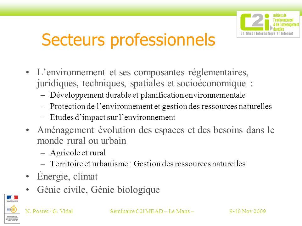 N. Postec / G. VidalSéminaire C2i MEAD – Le Mans –9-10 Nov 2009 Secteurs professionnels Lenvironnement et ses composantes réglementaires, juridiques,