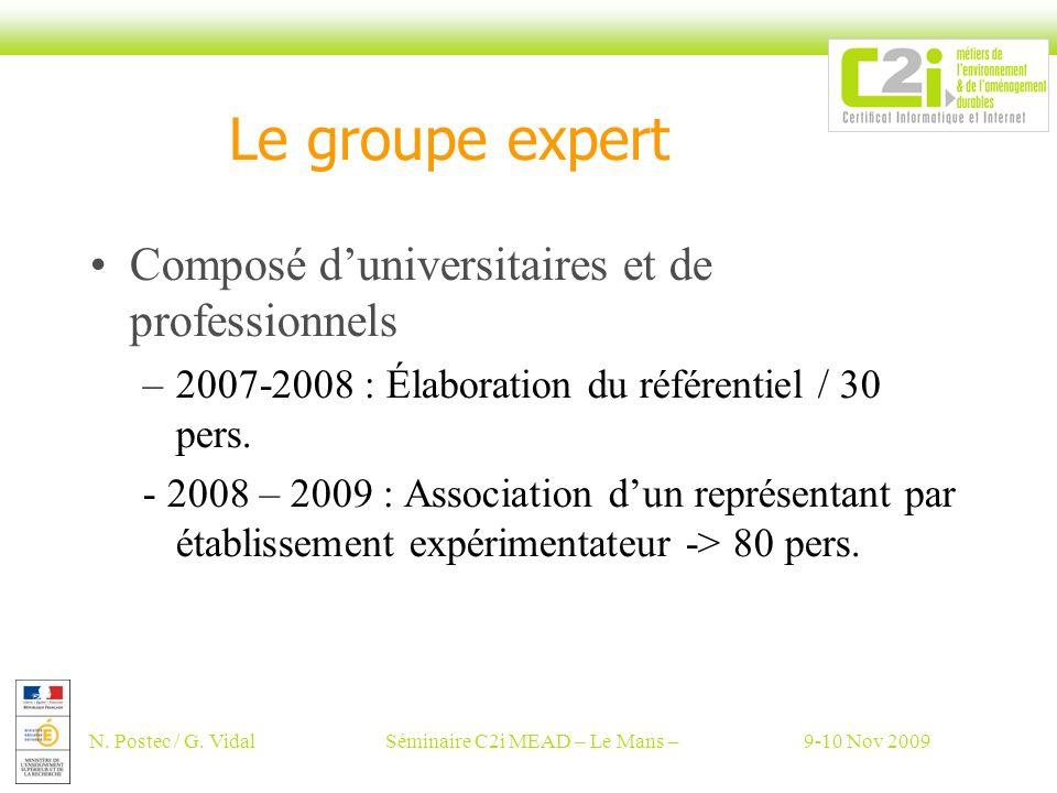 N. Postec / G. VidalSéminaire C2i MEAD – Le Mans –9-10 Nov 2009 Le groupe expert Composé duniversitaires et de professionnels –2007-2008 : Élaboration