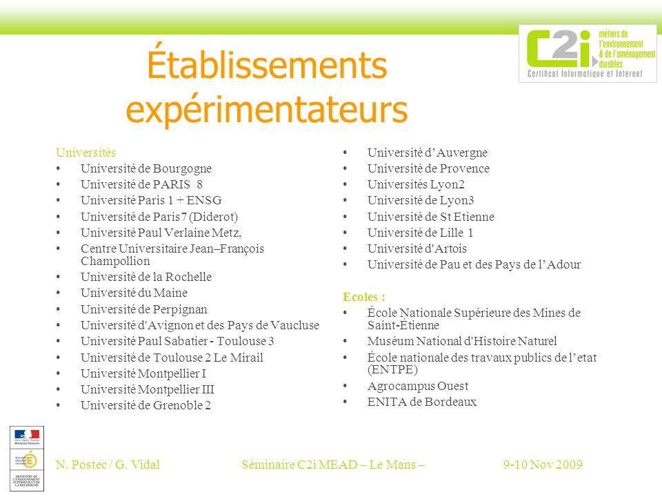 N. Postec / G. VidalSéminaire C2i MEAD – Le Mans –9-10 Nov 2009 Établissements expérimentateurs Universités Université de Bourgogne Université de PARI