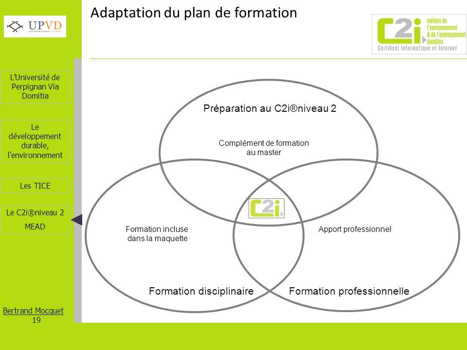 LUniversité de Perpignan Via Domitia Bertrand Mocquet 19 Les TICE Le développement durable, lenvironnement Le C2i®niveau 2 MEAD Adaptation du plan de